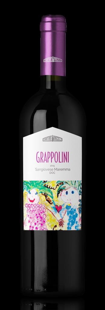 Bottiglia di vino Sangiovese di Toscana Grappolini DOC, in vendita presso Cantine Angeli