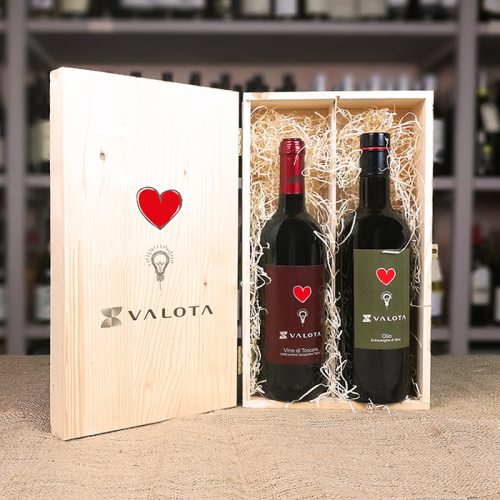 Box di legno con logo e due bottiglie (vino e olio) Valotta